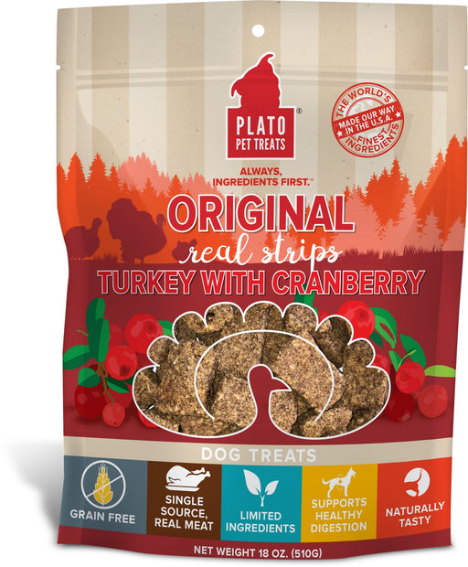 Plato Original Real Strips, Turkey with Cranberry, 18 oz