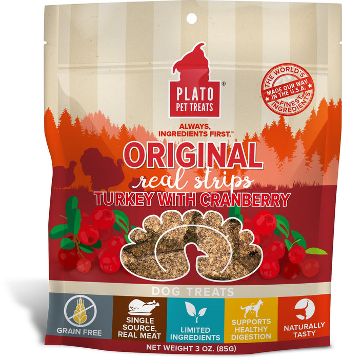 Plato Original Real Strips Turkey with Cranberry Dog Treats