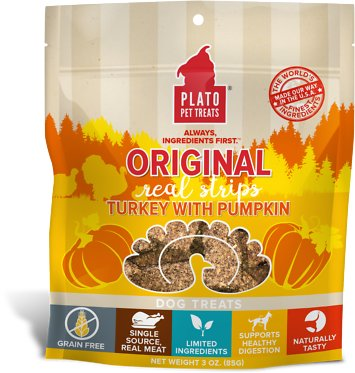 Plato Original Real Strips Turkey with Pumpkin Dog Treats