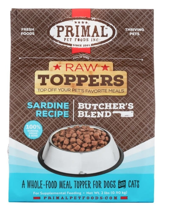 Primal Frozen Raw Toppers Butcher's Blend Recipes, 2 lbs