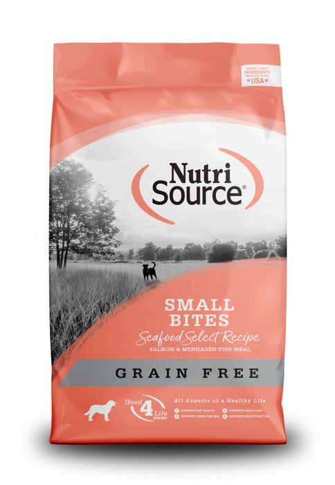 NutriSource Grain Free Small Bites Seafood Select Recipe Dog Food 5lb