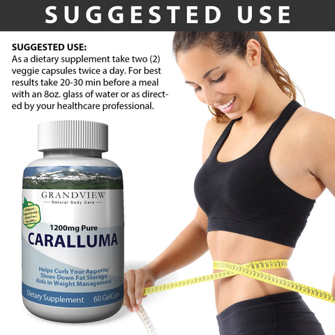 Caralluma 100% Pure 1200mg - Powerful Appetite Suppression Supports Weight Management Helps Prevent Production of Fat Cells Promotes Weight Loss Reduces Cravings 30 servings