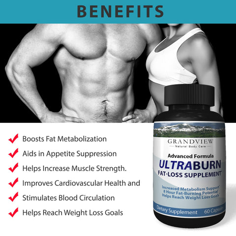 Ultra Burn ADVANCED FAT LOSS FORMULA - Increase Mental Acuity Boost Energy and Metabolism, Burn Fats Increase Muscle Strength Promotes Healthy Circulation, Advanced Fat Loss Formula Weightloss 60 Capsules