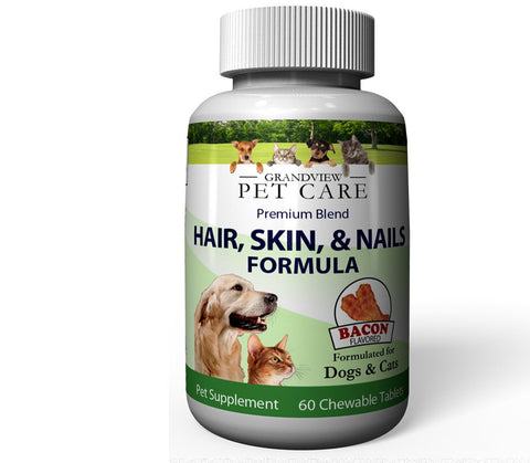 Image of Hair Skin & Nails for Dogs & Cats High in Antioxidants Promotes a Smooth, Shiny Coat Supports Healthy Skin and Strong Nails Bacon Flavored - 60 Chewable Tablets