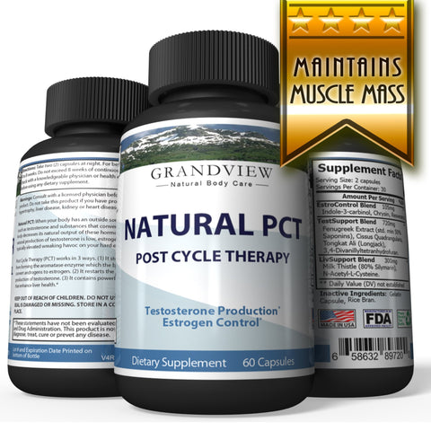 Natural PCT-Post Cycle Therapy Kickstarts Natural Testosterone Production Restores Normal Hormone Levels Helps Maintain Muscle Mass Support Healthy Liver Function - 60 Capsules