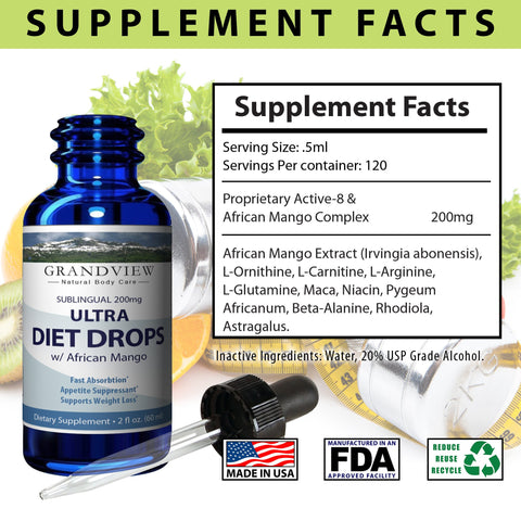 Ultra Diet Drops w/ African Mango - Suppresses Appetite Weight Loss Increases Leptin Levels Supports Heart Health Ultra Diet Drops w/ African Mango Weightloss 2 fl. oz. (60 ml)