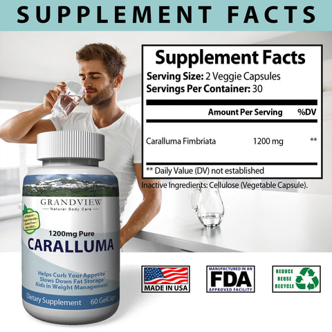 Image of Caralluma 100% Pure 1200mg - Powerful Appetite Suppression Supports Weight Management Helps Prevent Production of Fat Cells Promotes Weight Loss Reduces Cravings 30 servings