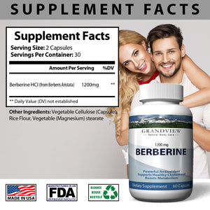 Berberine - All-natural herbal supplement. Supports weight loss. Promotes heart health. May help healthy blood sugar. Powerful Antioxidant.