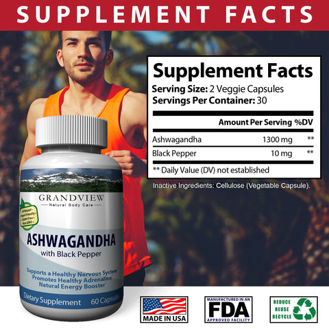 Image of Ashwagandha w/ Black Pepper. Maximum Strength - Stress Relief and Anti Anxiety, Thyroid Adrenal Support, Mood Pure Root Powder Extract Supplements - Extra Strength