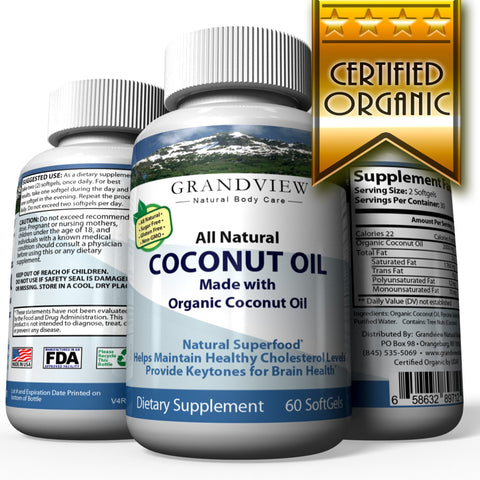 Image of Organic Coconut Oil - Healthy Skin, Nails, Weight Loss, Hair Growth - Extra Virgin Pressed, Unrefined Non GMO - Rich in MCT MCFA - Support Brain Function, Blood Pressure, Anti Aging – 60 SoftGels