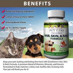 Hair Skin & Nails for Dogs & Cats High in Antioxidants Promotes a Smooth, Shiny Coat Supports Healthy Skin and Strong Nails Bacon Flavored - 60 Chewable Tablets