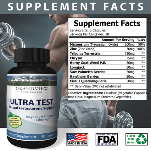 Image of Natural UltraTest Testosterone Booster All Natural, Drug Free Promotes Testosterone Production Enhances Muscle Growth Boosts Bodybuilding Results Elevates Stamina and Libido – 90 Caps