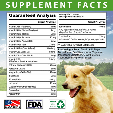 Image of Total Health for Dogs - Maintains Overall Health Helps strengthen Bones Supports a Healthy Coat Bacon Flavored 60 Chewable Tablets