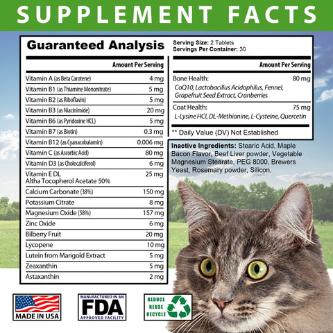 Image of Total Health for Cats - Maintains Overall Health Helps strengthen Bones Supports a Healthy Coat Bacon Flavored 60 Chewable Tablets