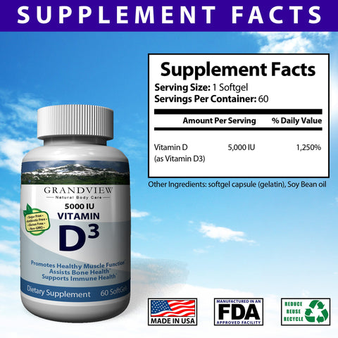 Image of Vitamin D3 5000 IU - Total Body Health. Healthy Teeth, Bones, Skin, & Immune System Strengthens Bones Helps Regulate Blood Sugar and Blood Pressure Supports a Healthy Immune System Helps the Body Absorb Calcium