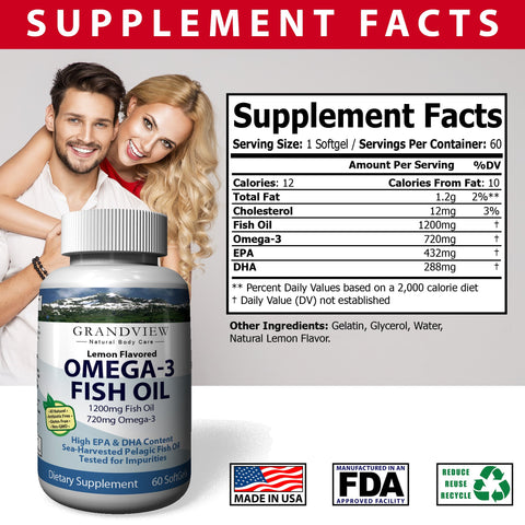 Image of Omega 3 Pure Fish Oil - Rich in EPA & DHA Helps Maintain Healthy Cholesterol Levels Supports Cardio-vascular Health Joint Support  Reduce Symptoms of PMS and Cramping Helps Lower Triglycerides, 60 capsules