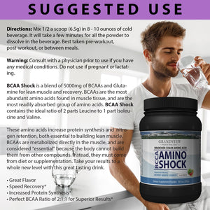 BCAA Shock Powder (Melon) Speeds Recovery Supports Lean Muscle Growth Enhances Performance Promotes Tissue Repair Reduces Muscle Breakdown 292 Grams, 45 servings