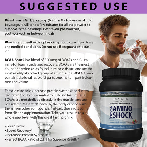 Image of BCAA Shock Powder (Fruit Punch) Speeds Recovery Supports Lean Muscle Growth Enhances Performance Promotes Tissue Repair Reduces Muscle Breakdown 292 Grams, 45 servings