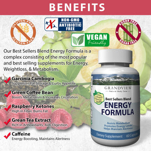 Best Sellers Blend Energy Formula. Promotes Fat Cell Breakdown Suppresses Appetite Boost Metabolism Enhances Weight Loss Increases Energy 60 servings