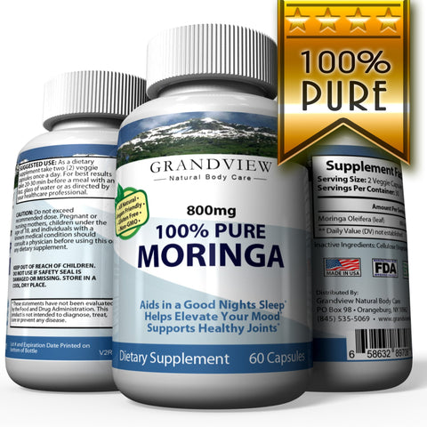 Image of Moringa Oleifera (Leaf) 800mg Helps Normalize Blood Sugar Supports More Restful Sleep Reduces Joint Pain and Stiffness Helps You Relax and Elevates Mood Reduces Fatigue – 60 Caps