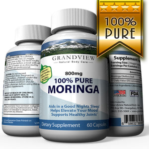 Moringa Oleifera (Leaf) 800mg Helps Normalize Blood Sugar Supports More Restful Sleep Reduces Joint Pain and Stiffness Helps You Relax and Elevates Mood Reduces Fatigue – 60 Caps