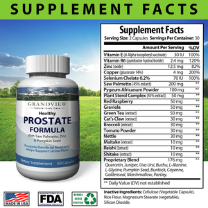 Natural Prostate Formula -Supports Overall Prostate Health And Function - With Saw Palmetto. DHT blocker - 60 capsules
