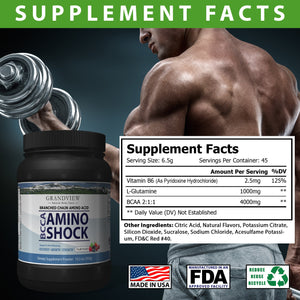 BCAA Shock Powder (Fruit Punch) Speeds Recovery Supports Lean Muscle Growth Enhances Performance Promotes Tissue Repair Reduces Muscle Breakdown 292 Grams, 45 servings