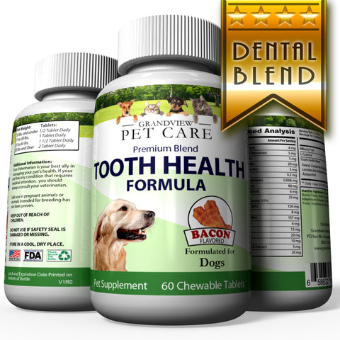 Tooth Health for Dogs - Maintains Healthy Teeth Helps strengthen Enamel Provides Calcium for Strong Teeth Bacon Flavored 60 Chewable Tablets