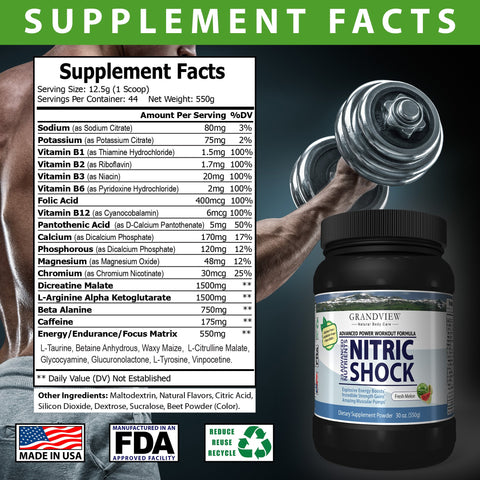 Nitric Shock Pre-Workout (Watermelon) Boosts Energy Heightens Physical Response Increases Endurance Promotes Muscle Mass,  Will Not Cause Restlessness If Taken Late In the Day - 550 Gms