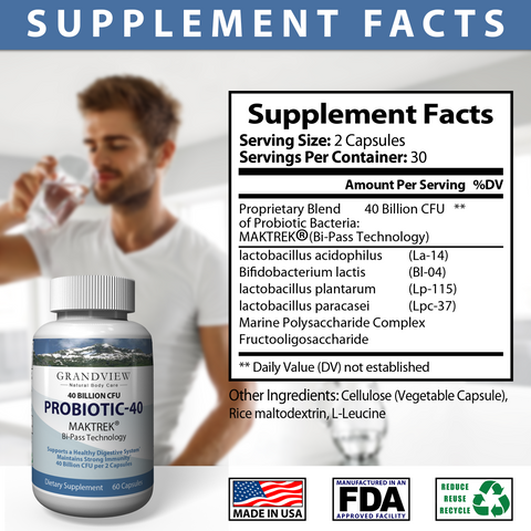 Image of Probiotic-40 Digestive Health, Boosts Immune Response Great For Women's General Health Helps Replenish Healthy Bacteria Promote Healthy Digestion Supports Digestive Health and Overall Wellness 60 capsules