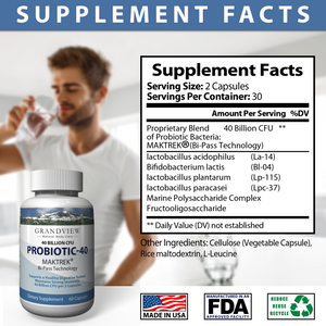 Probiotic-40 Digestive Health, Boosts Immune Response Great For Women's General Health Helps Replenish Healthy Bacteria Promote Healthy Digestion Supports Digestive Health and Overall Wellness 60 capsules