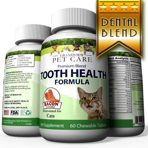 Image of Tooth Health for Cats - Maintains Healthy Teeth Helps strengthen Enamel Provides Calcium for Strong Teeth Bacon Flavored 60 Chewable Tablets