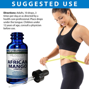African Mango Drops. 2fl oz, Natural Complex for Healthy Weight Loss Diet Drops, Appetite Suppressant, Metabolism Booster,  Fat Burning Supplement 120 servings