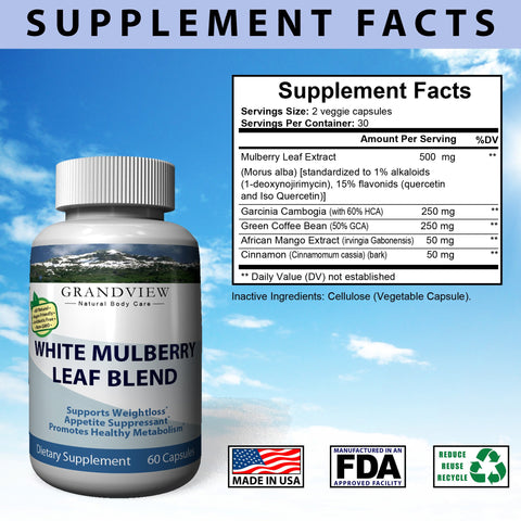 White Mulberry Leaf Blend - Blood Sugar Supplement Natural Blood Glucose Control Appetite Suppressant Promotes Weight Loss Maintain Healthier A1C  White Mulberry Leaf Blend Weightloss 60 Caps