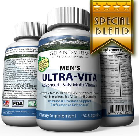 Ultra Vitamin for Men – 15 Vitamins and Minerals Immune System Support Cardiovascular and Prostate Health Protects Against Muscular Loss 60 Caps