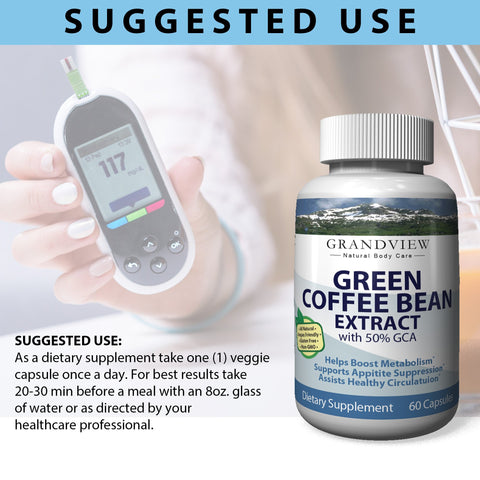 Image of Green Coffee Bean w/GCA 800mg  Helps Suppress Appetite Boosts Metabolism Promotes Weight Loss Helps Control Blood Sugar Levels Heart Healthy– 60 Capsules