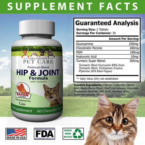 Image of Hip & Joint Formula with Turmeric for Cats Maintains Healthy Cartilage Helps Alleviate Sore Joints Anti-inflammatory Bacon Flavored - 60 Chewable Tablets