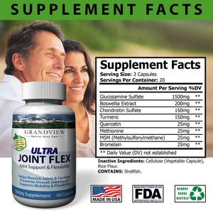 Joint Flex Maintains Healthy Cartilage Provide Flexibility and Mobility Reduces Pain and Inflammation Improves Range of Motion Reduces Swelling - 60 Caps