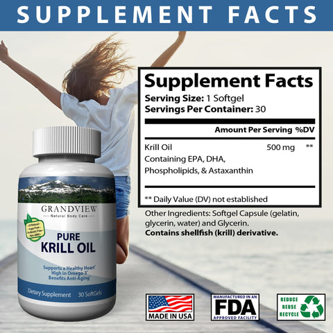 Image of Krill Oil Helps Maintain Healthy Cholesterol Levels Supports Cardio-vascular Health Joint Support Reduce Symptoms of PMS and Cramping - 30 Soft Gels