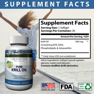 Krill Oil Helps Maintain Healthy Cholesterol Levels Supports Cardio-vascular Health Joint Support Reduce Symptoms of PMS and Cramping - 30 Soft Gels