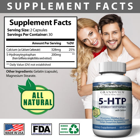 Image of 5-HTP - Boosts mood. Controls appetite . Supports weight loss. Natural sleep aid. Promotes Health Serotonin Levels.