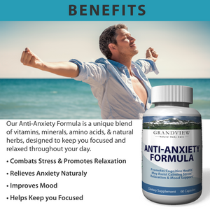Natural Anxiety Formula & Stress Support Supplement - All-Natural Ingredients That Helps Manage Stress And Soothe The Mind, Boosts Serotonin To Keep You Calm And Happy