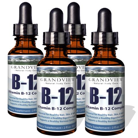 Image of Vitamin B12 Liquid Drops - 4 Pack - Best Way To Instantly Boost Energy Levels And Speed Up Metabolism - 2 Fluid Ounces per bottle