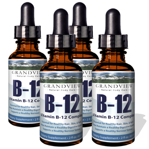 Vitamin B12 Liquid Drops - 4 Pack - Best Way To Instantly Boost Energy Levels And Speed Up Metabolism - 2 Fluid Ounces per bottle