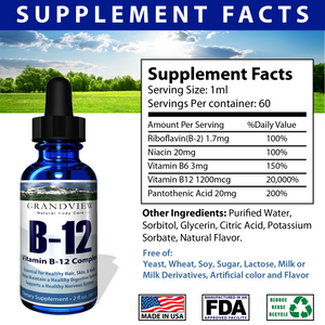 Vitamin B12 Liquid Drops - Best Way To Instantly Boost Energy Levels And Speed Up Metabolism - 2 Fluid Ounces -
