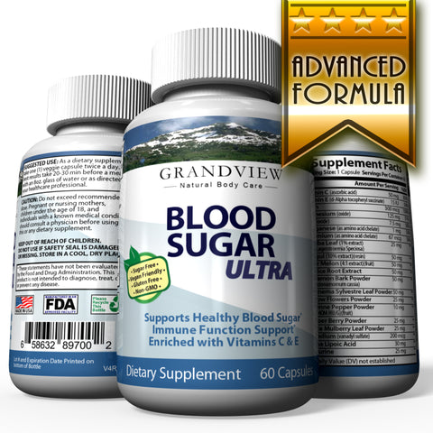 Image of Blood Sugar Ultra Supplement - Natural Glucose Control - 20 Herbs and Multivitamin for Blood Sugar Control with Alpha Lipoic Acid & Cinnamon 60 Caps
