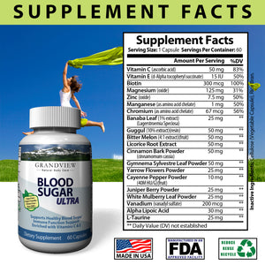Blood Sugar Ultra Supplement - Natural Glucose Control - 20 Herbs and Multivitamin for Blood Sugar Control with Alpha Lipoic Acid & Cinnamon 60 Caps