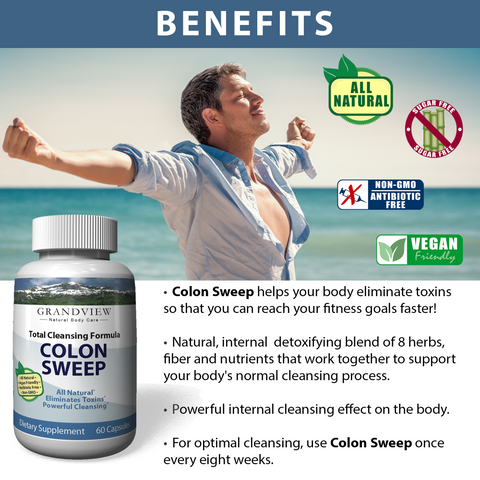 Colon Sweep – Natural Constipation Relief and Detox with Psyllium Husk, Cascara Sagrada – Flush Wasteful Toxins Out of Your Body and Feel Better – 60 Capsules