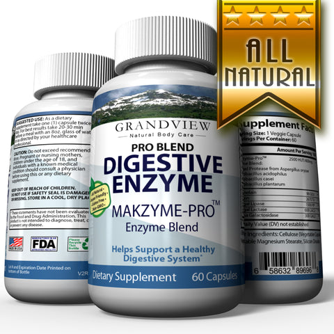Image of Digestive Enzyme Pro Blend - All Natural Stomach Support For Better Digestion And Nutrient Absorption, Fights Bloating, Gas And Constipation For A Healthy Tummy 60 capsules