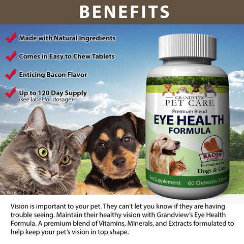 Image of Eye Health For Dogs & Cats - Lutein, Astaxanthin, Lycopene, Zeaxanthin, Bilberry Antioxidants with Vitamin C and Vitamin E - Maximize Your Dog or Cat's Eye Health - Delicious Bacon Flavor